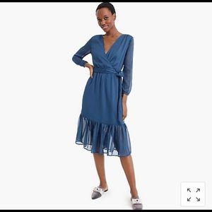 Point Sur faux-wrap dress in Lurex crinkle chiffon